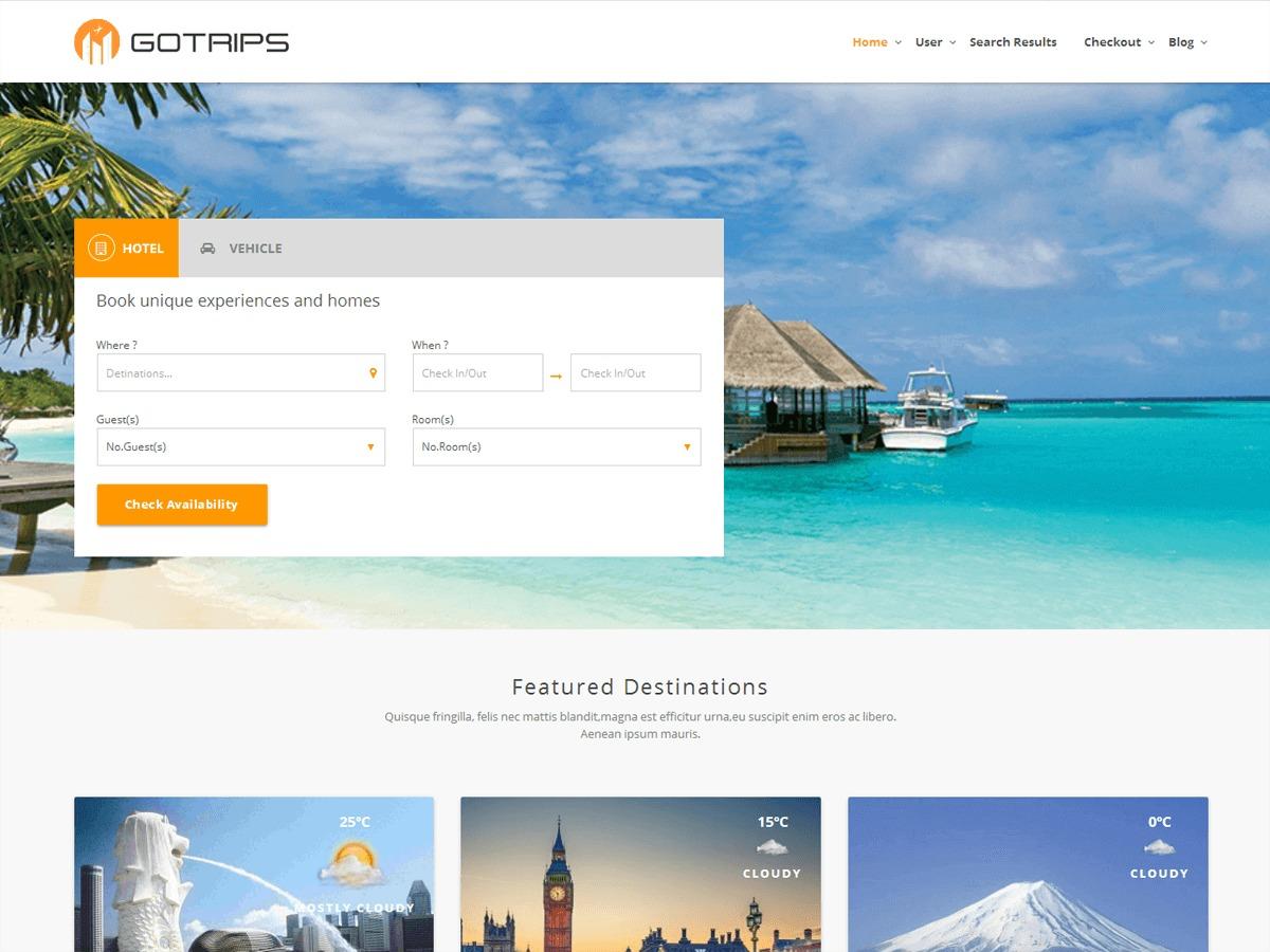 Gotrips automotive WordPress theme