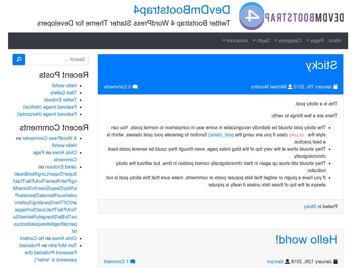 WordPress theme devdmbootstrap4