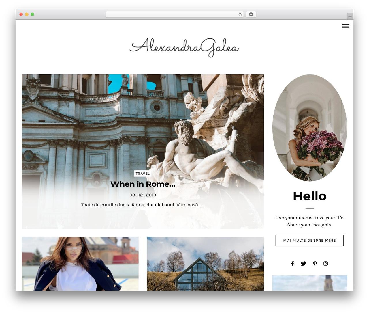 Dashblog WordPress blog template - alexandragalea.com