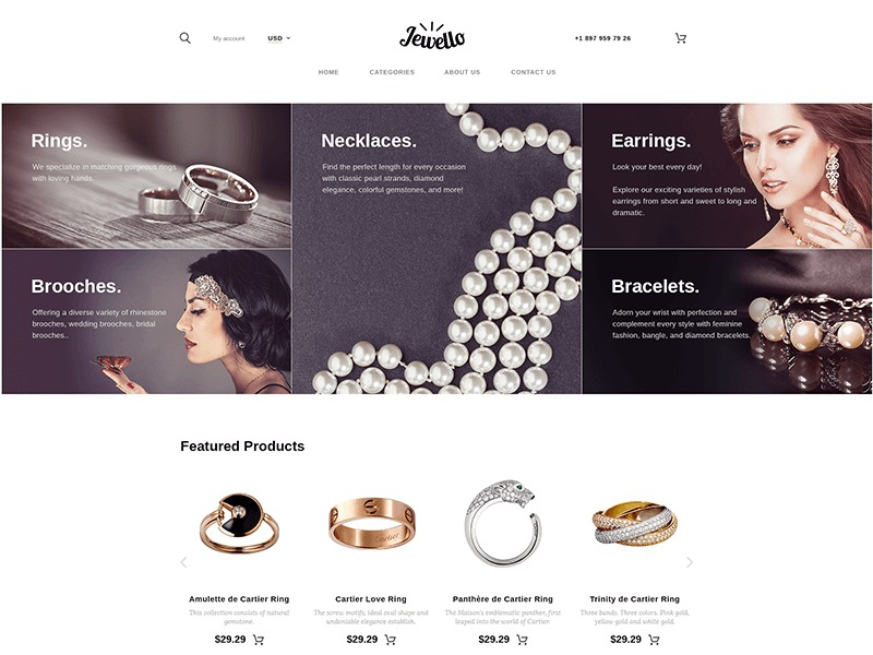 Jewello WordPress theme design