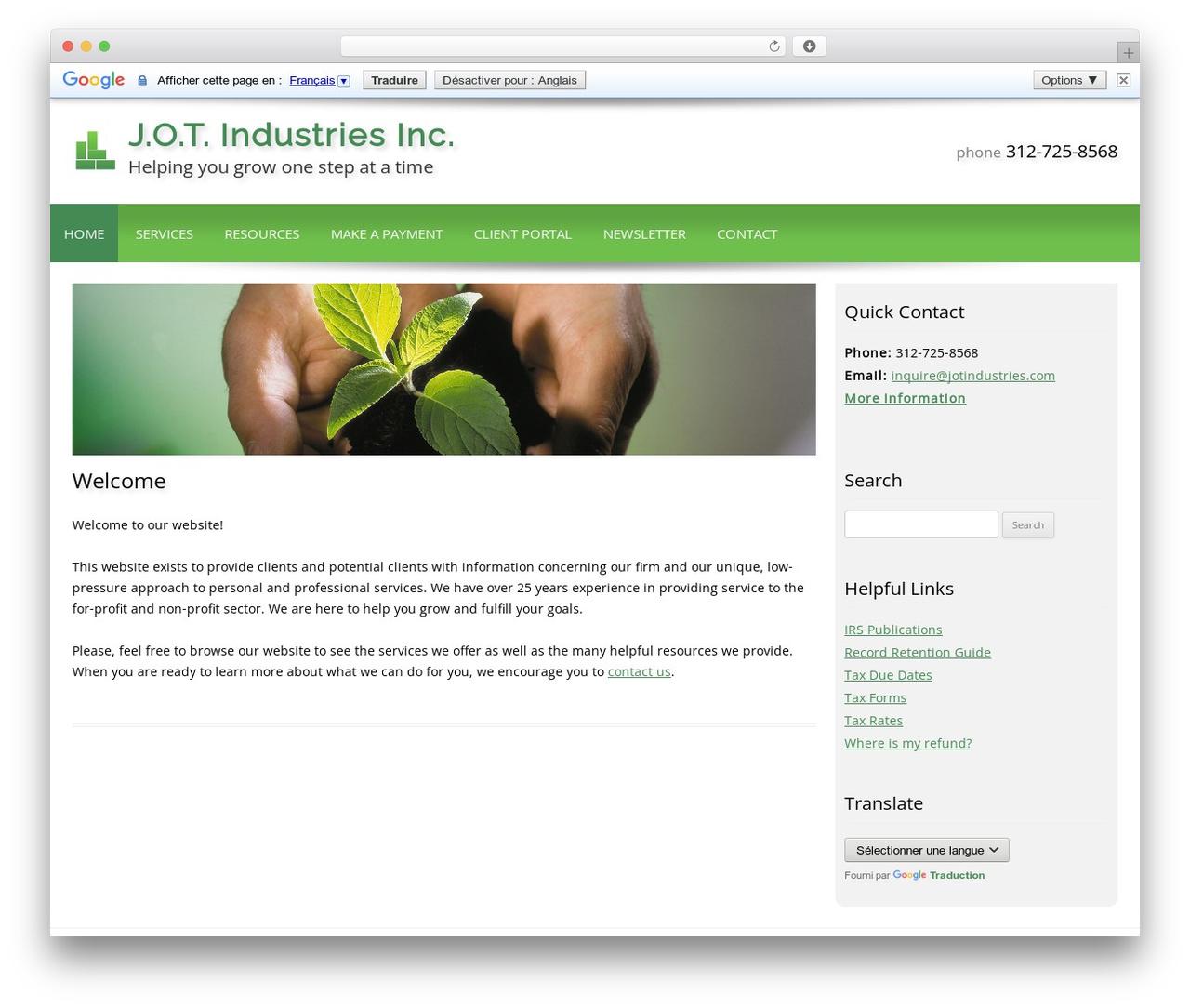 Customized business WordPress theme - jotindustries.com