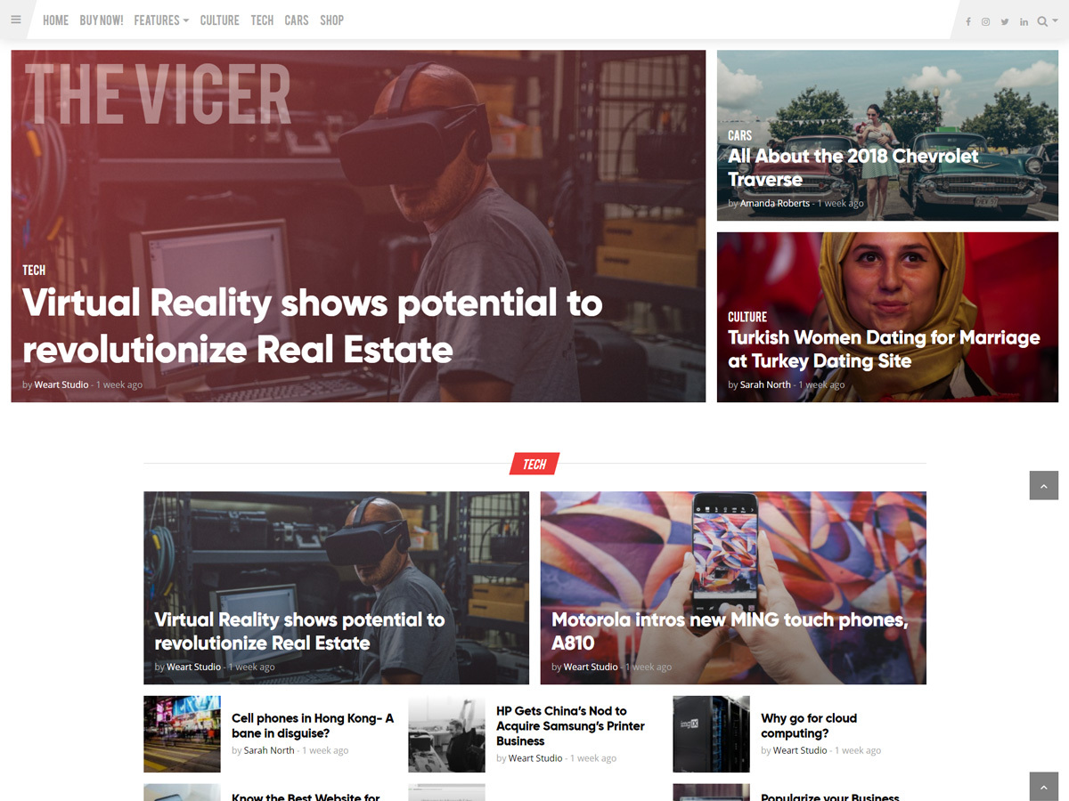 The Vicer WordPress news template by weartstudio