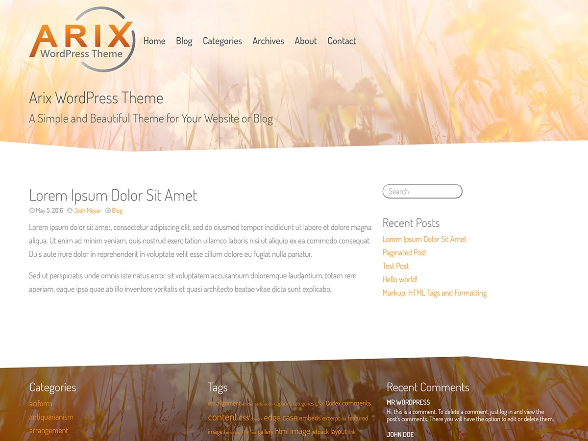 Arix template WordPress free