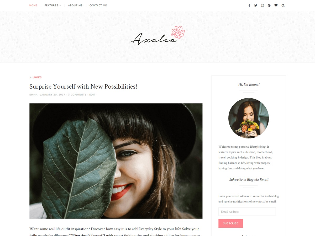 Azalea free website theme