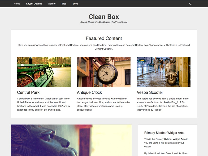 Clean Box theme WordPress free