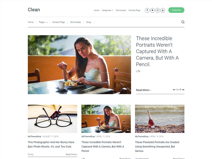 Clean by MyThemeShop WordPress blog template