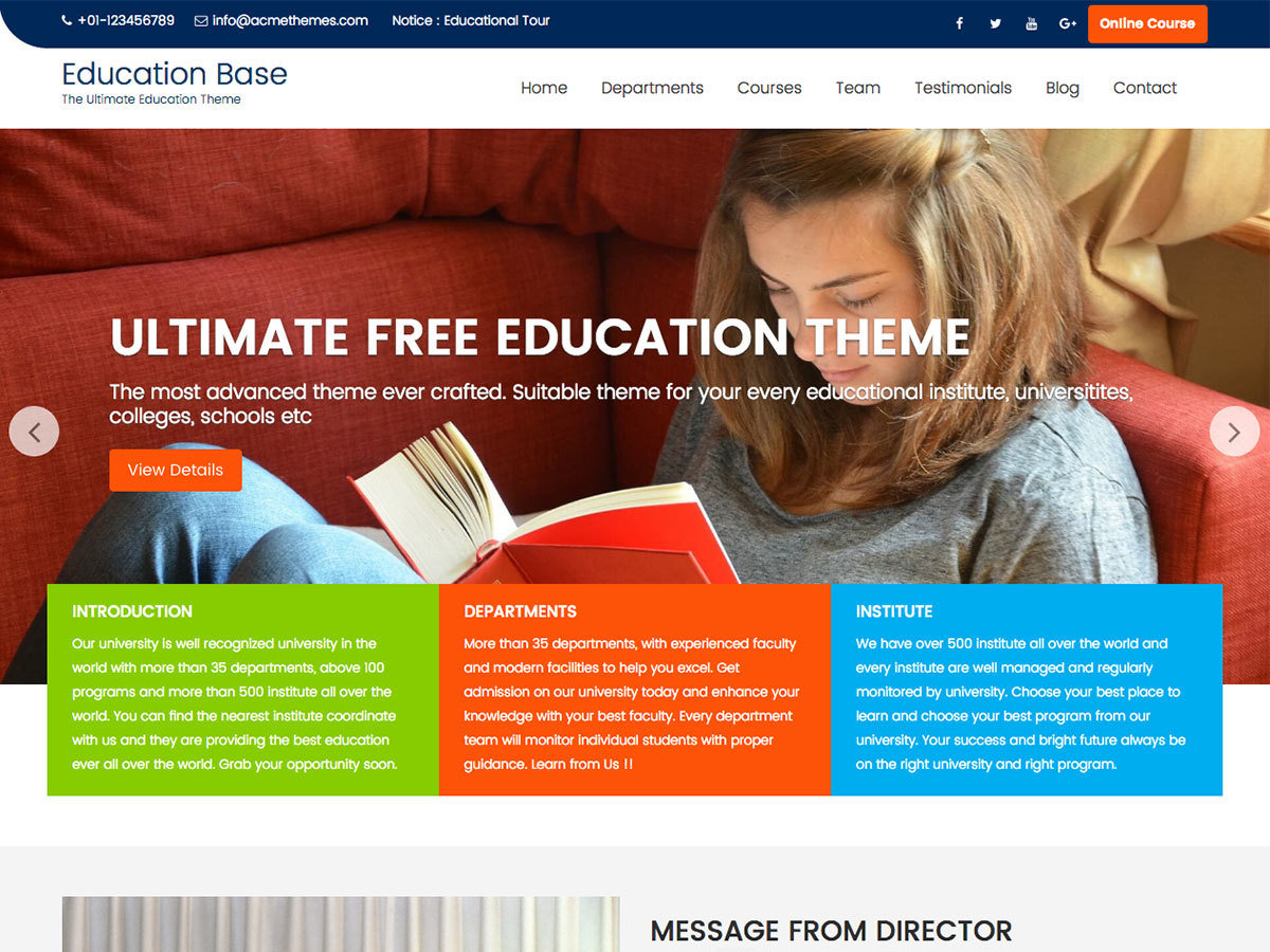 Education Base free WP theme
