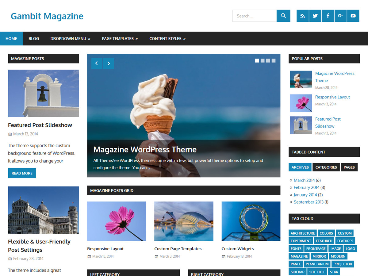 Gambit newspaper WordPress theme