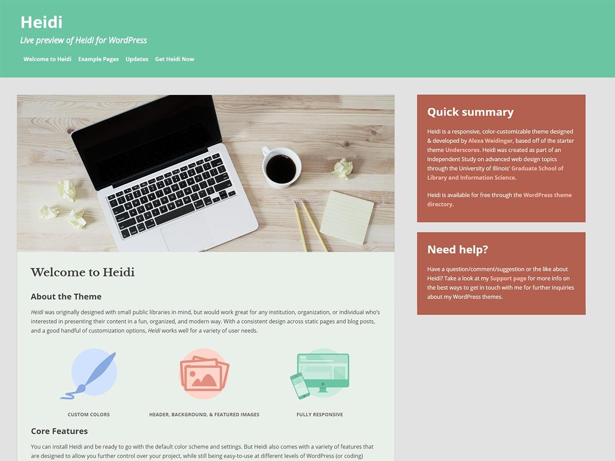 Heidi WordPress template free download