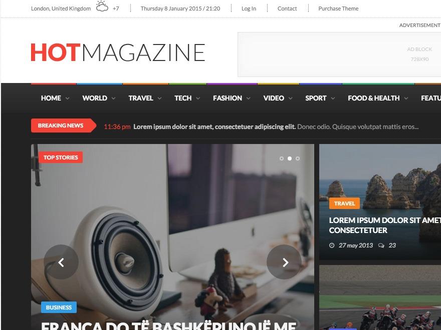 Hotmagazine newspaper WordPress theme