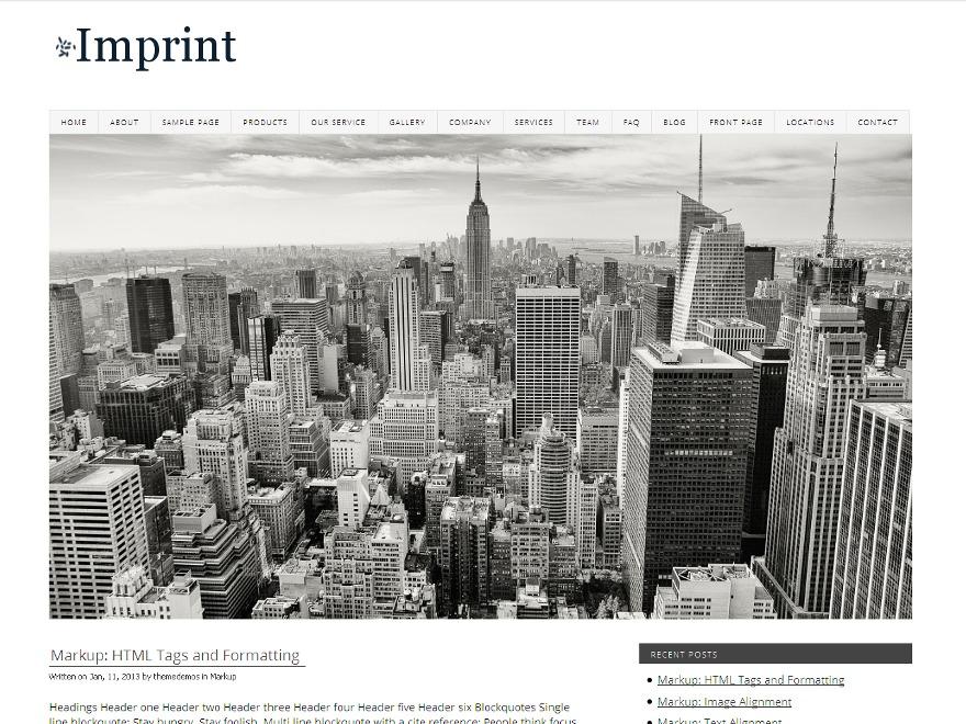 Imprint WordPress news theme