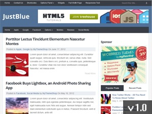 JustBlue WordPress blog theme