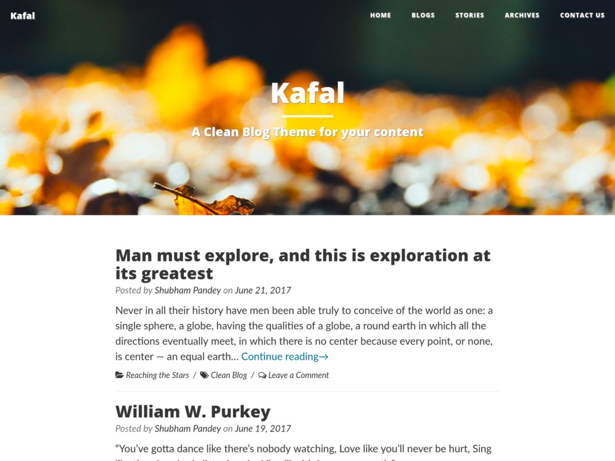 Kafal free WordPress theme