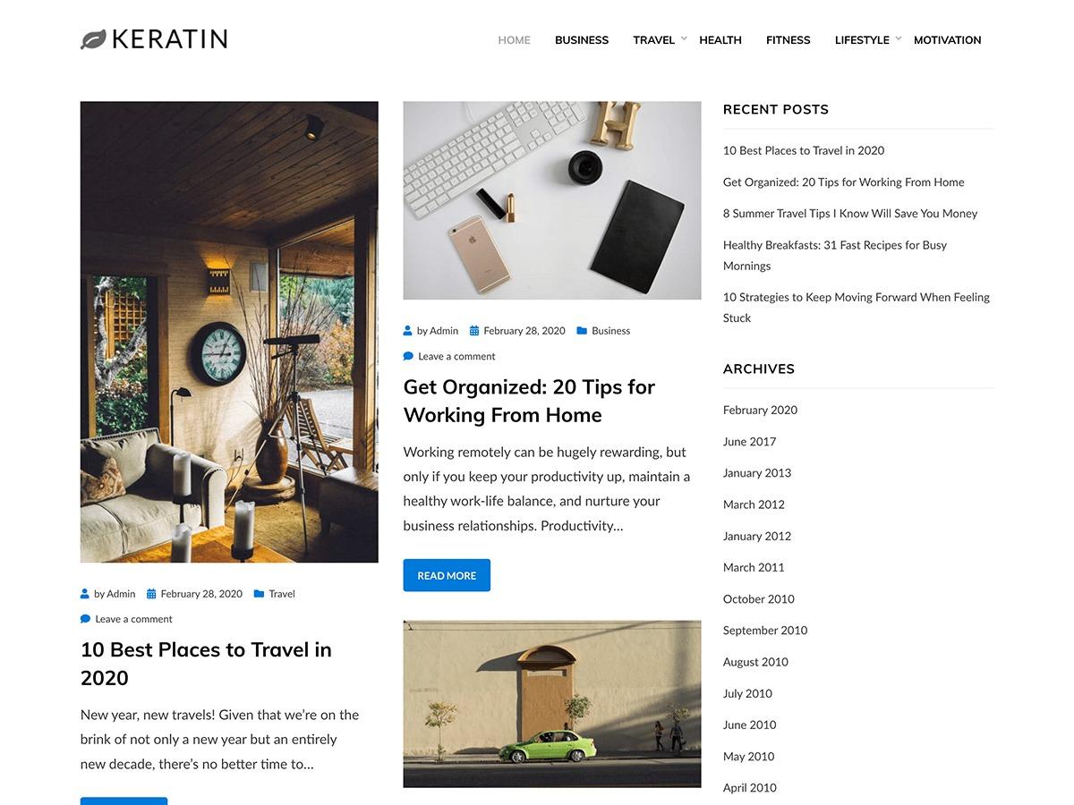 Keratin best free WordPress theme