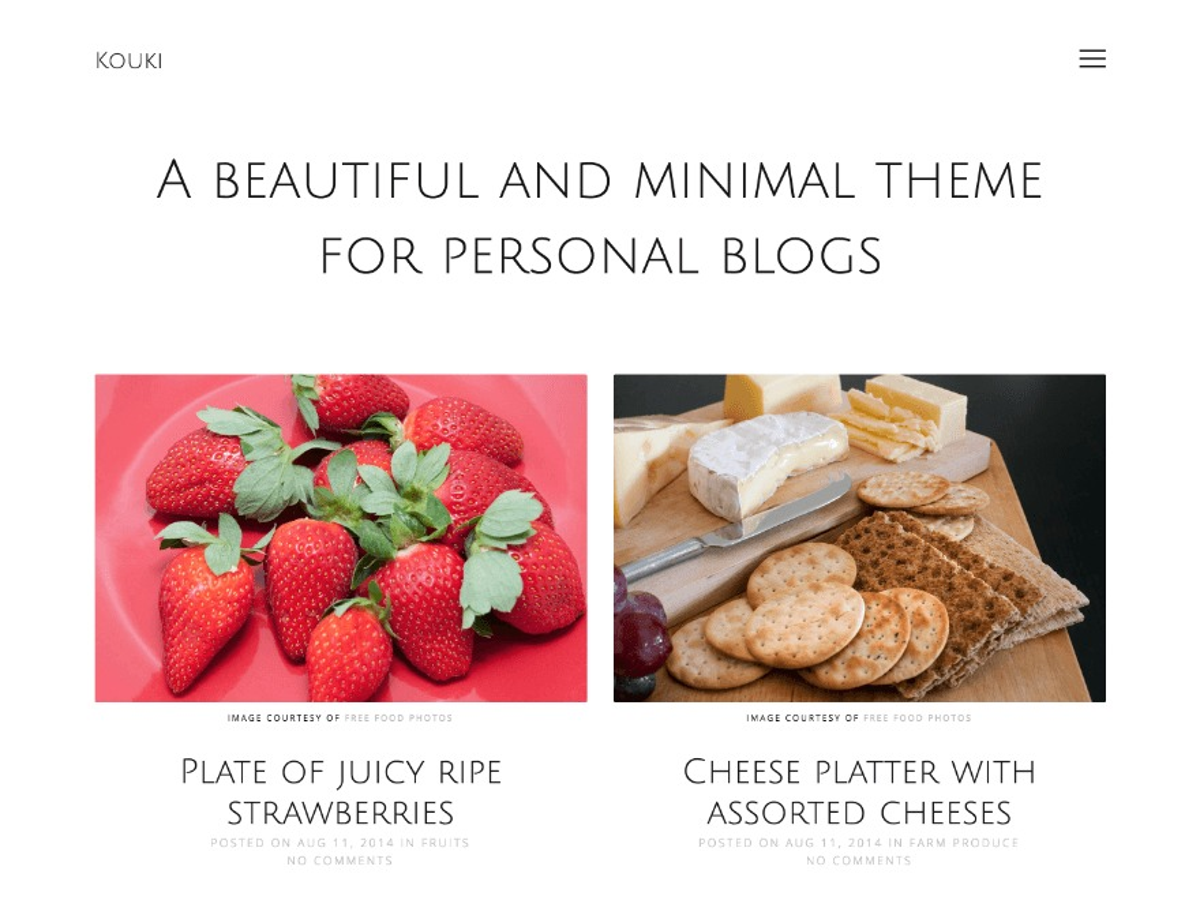 Kouki best free WordPress theme