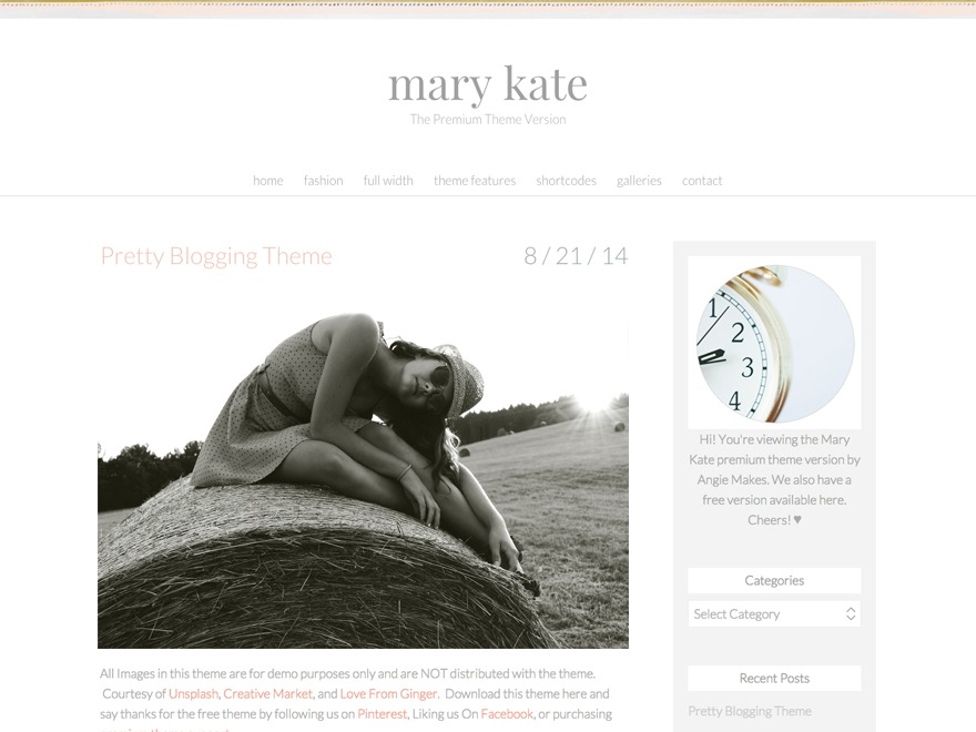 Mary Kate WordPress page template