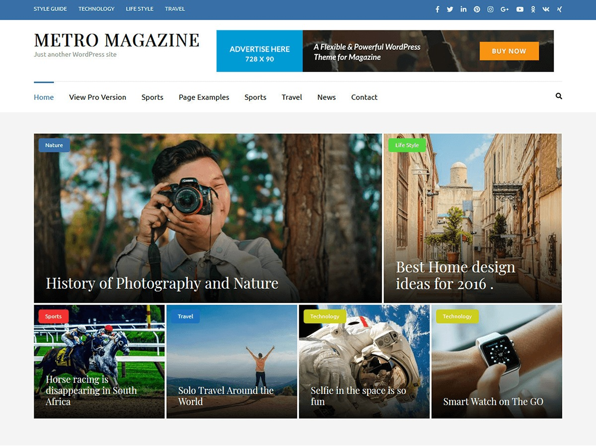 Metro Magazine WordPress news template
