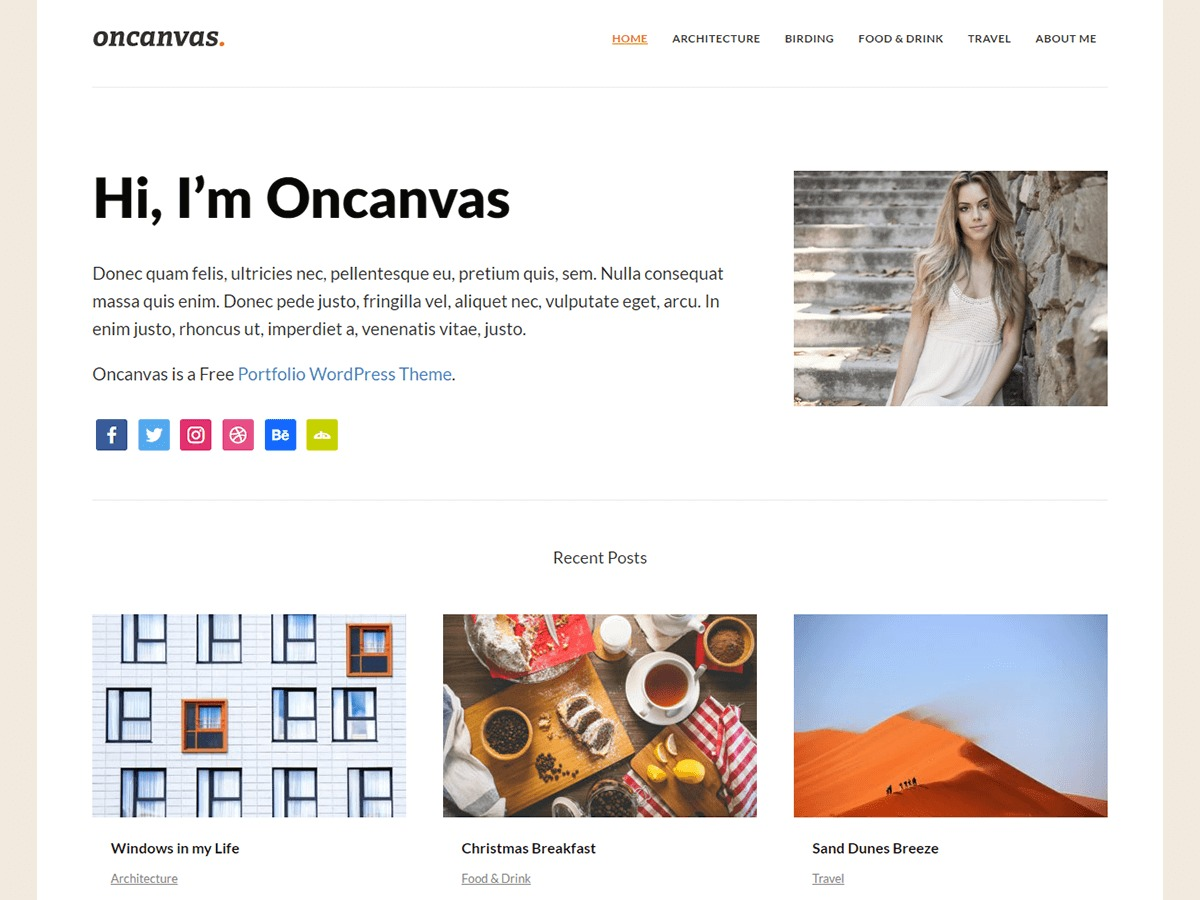 Oncanvas free WordPress theme