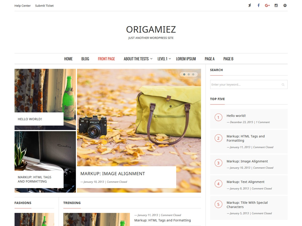 Origamiez template WordPress free