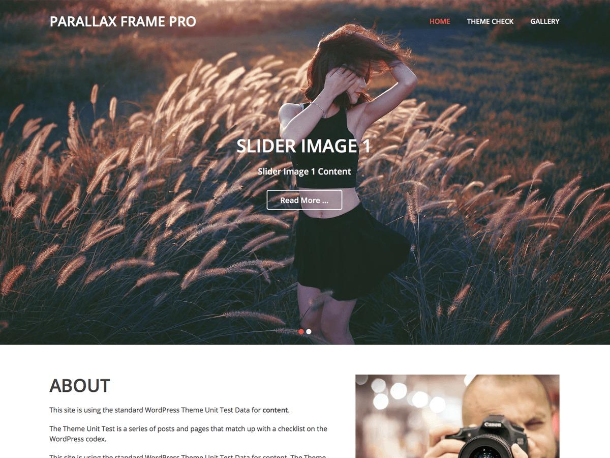 Parallax Frame Pro company WordPress theme