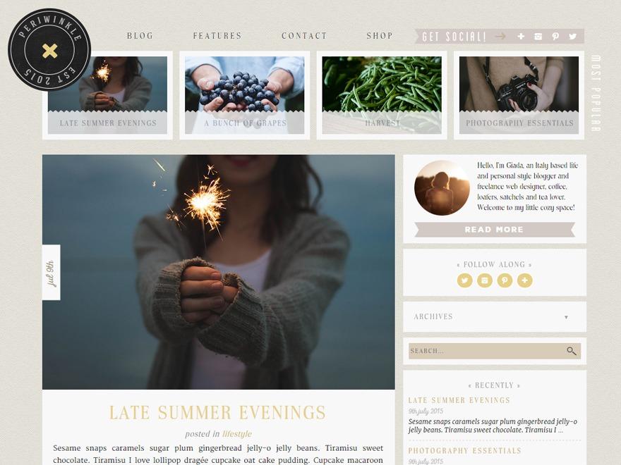periwinkle wordpress blog template by periwinkle