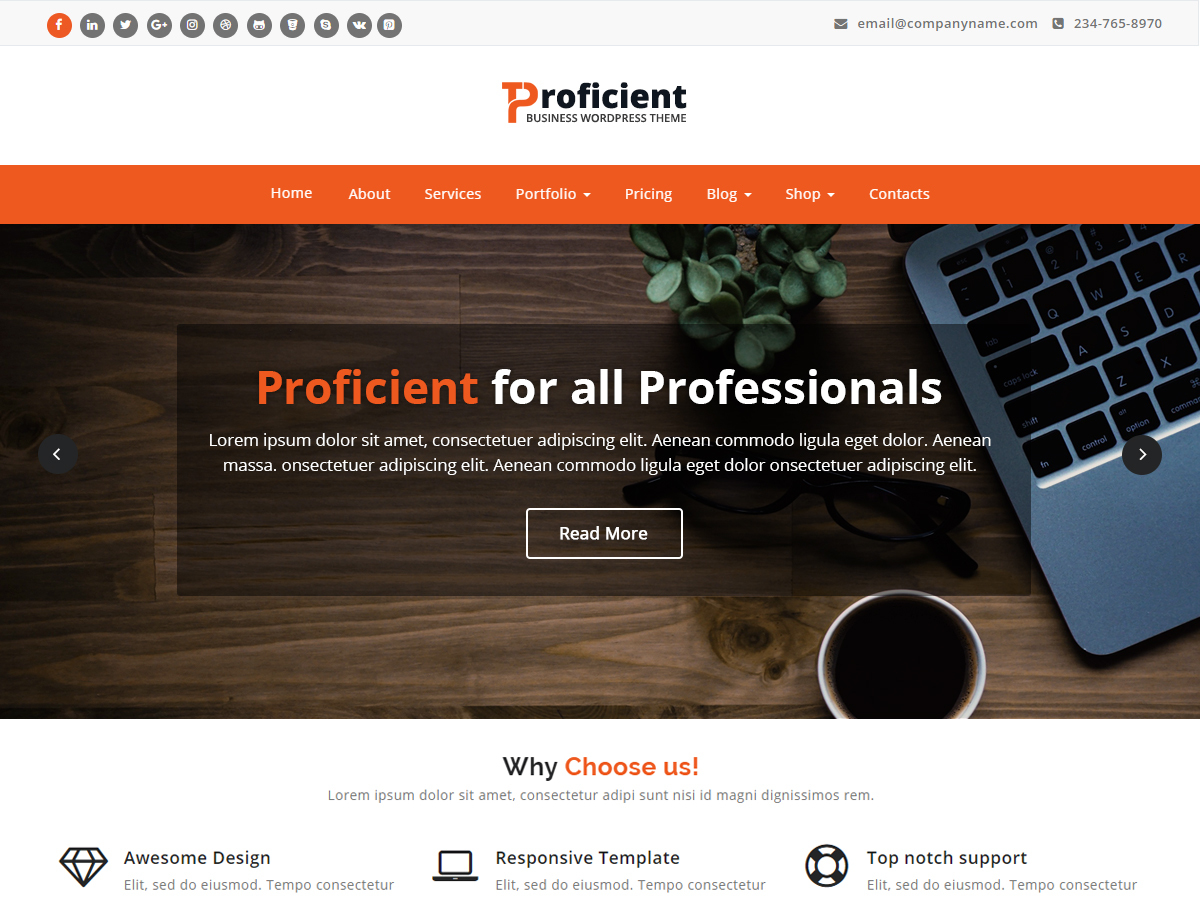 Proficient free WordPress theme