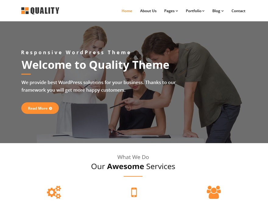 Quality orange WordPress template free