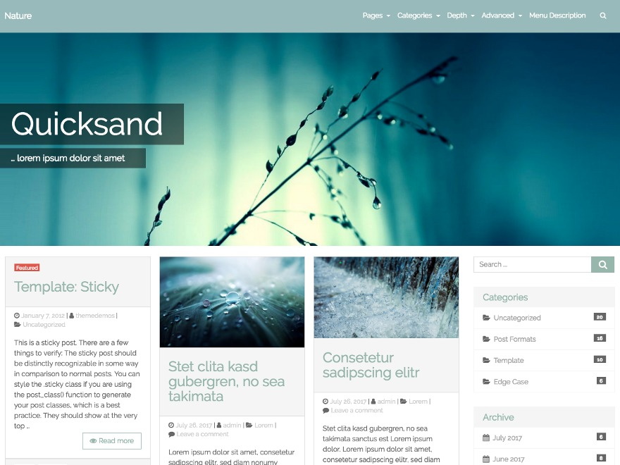 Quicksand free WordPress theme