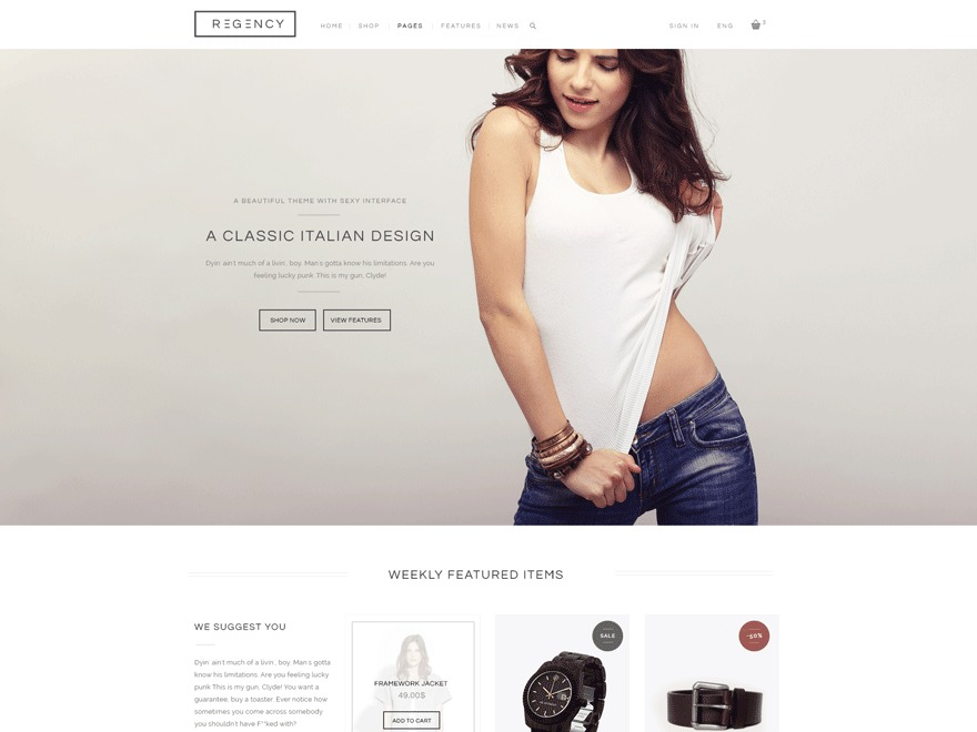 Regency WordPress store theme