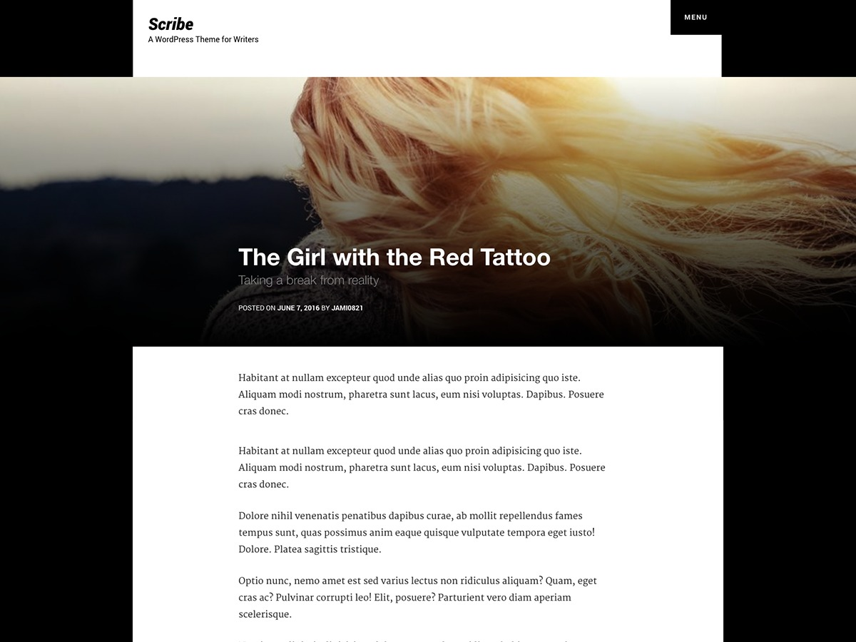 Scribe free WordPress theme