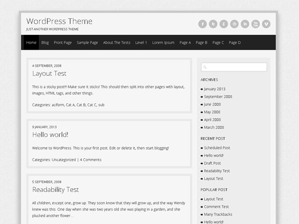 Semprul WordPress blog theme
