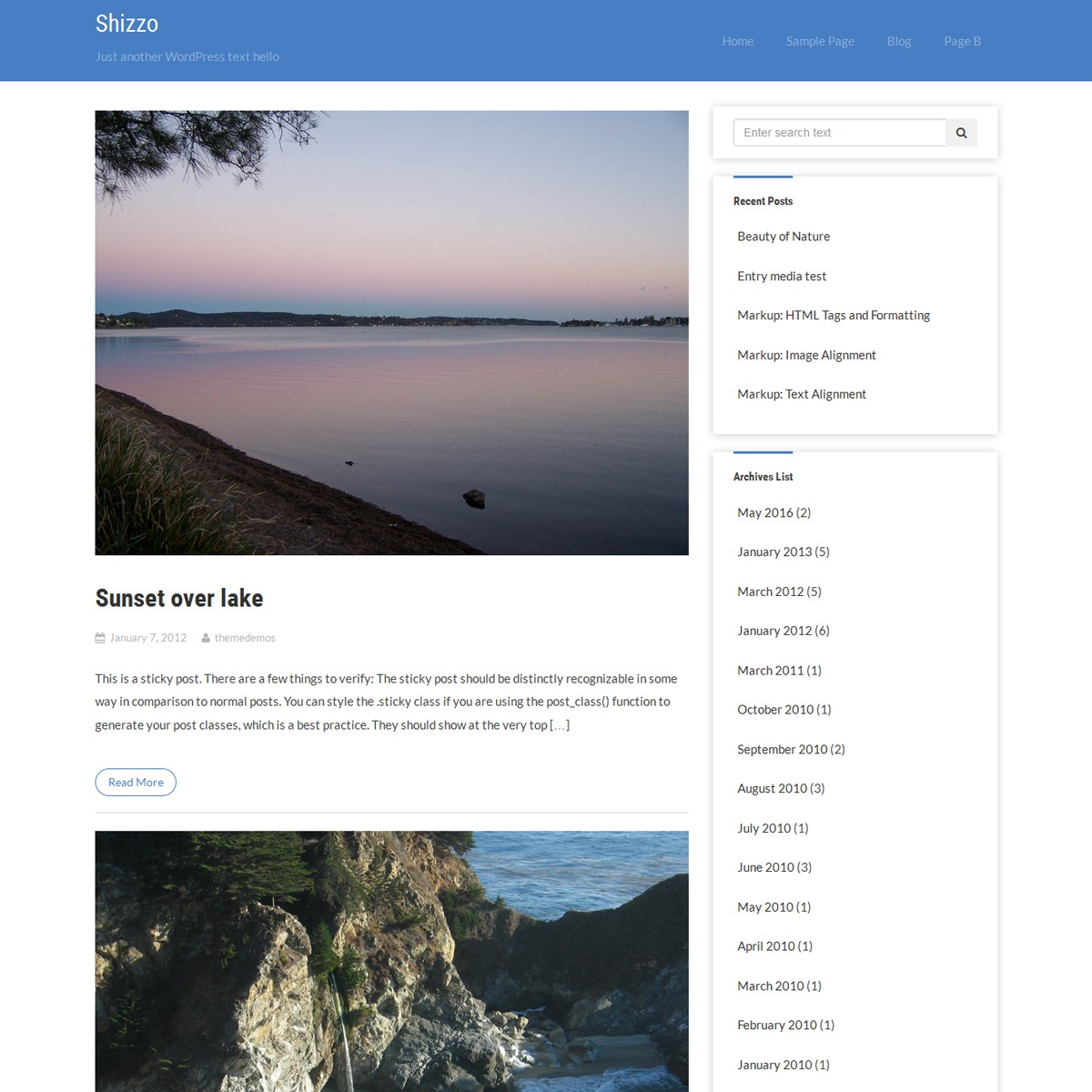 Shizzo free WordPress theme