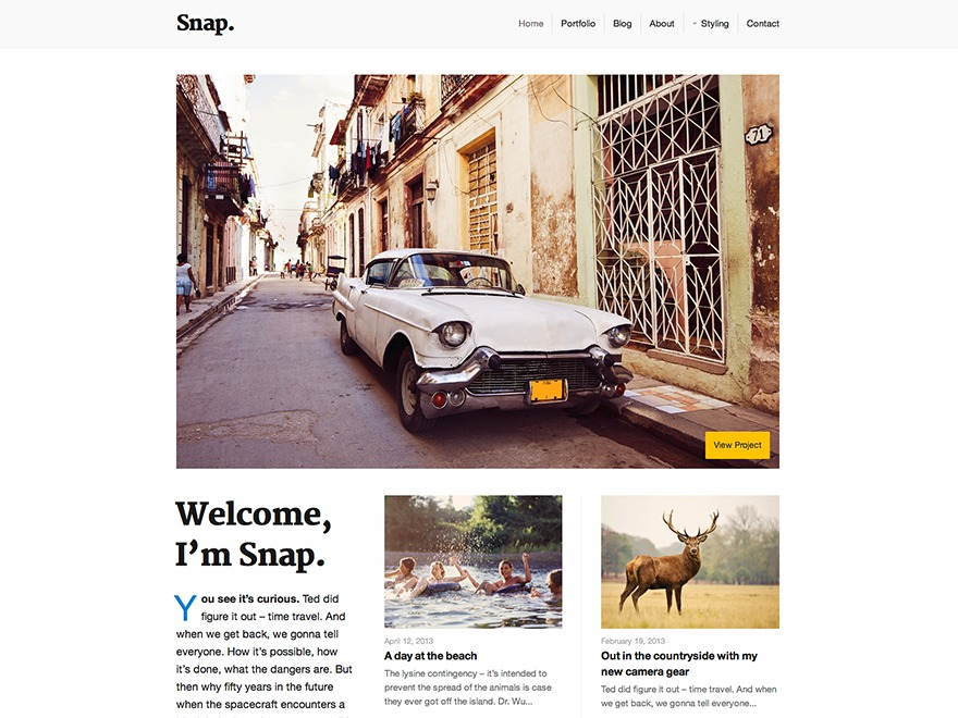 Snap WordPress blog template