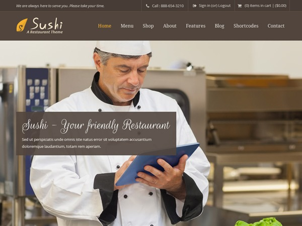 Sushi WordPress theme design