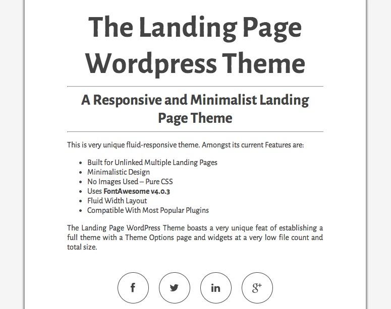 The Landing Page WordPress gallery theme