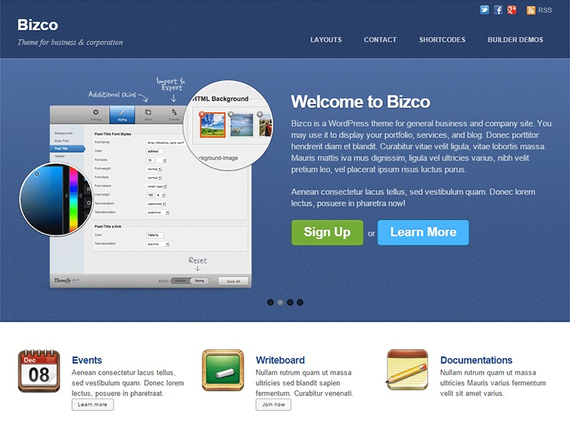 Themify Bizco best WordPress template