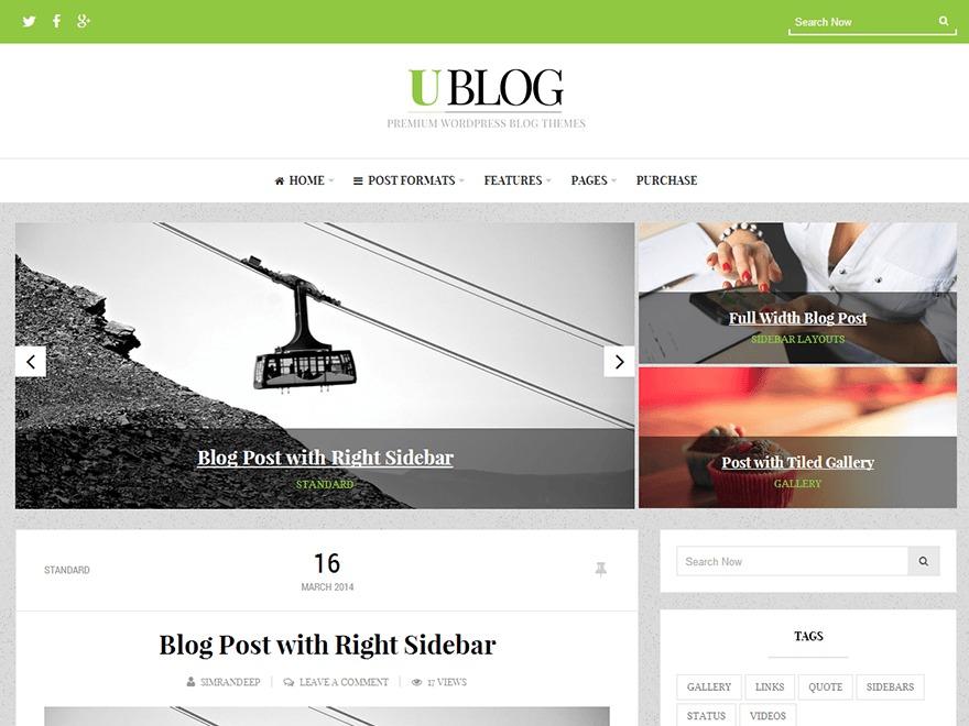 UBlog WordPress blog theme