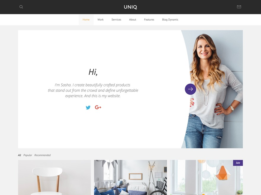 Uniq WordPress page template