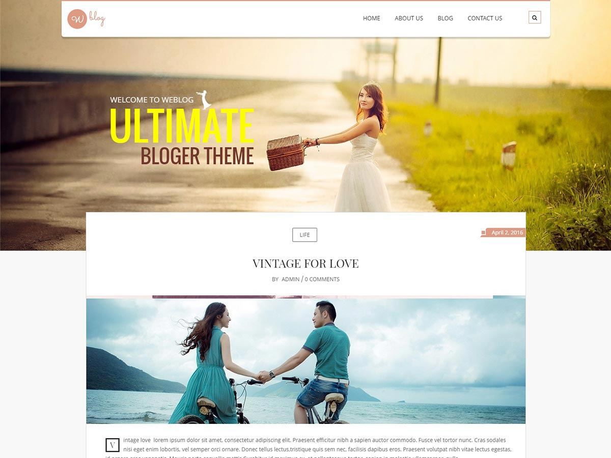 Weblog WordPress theme free download