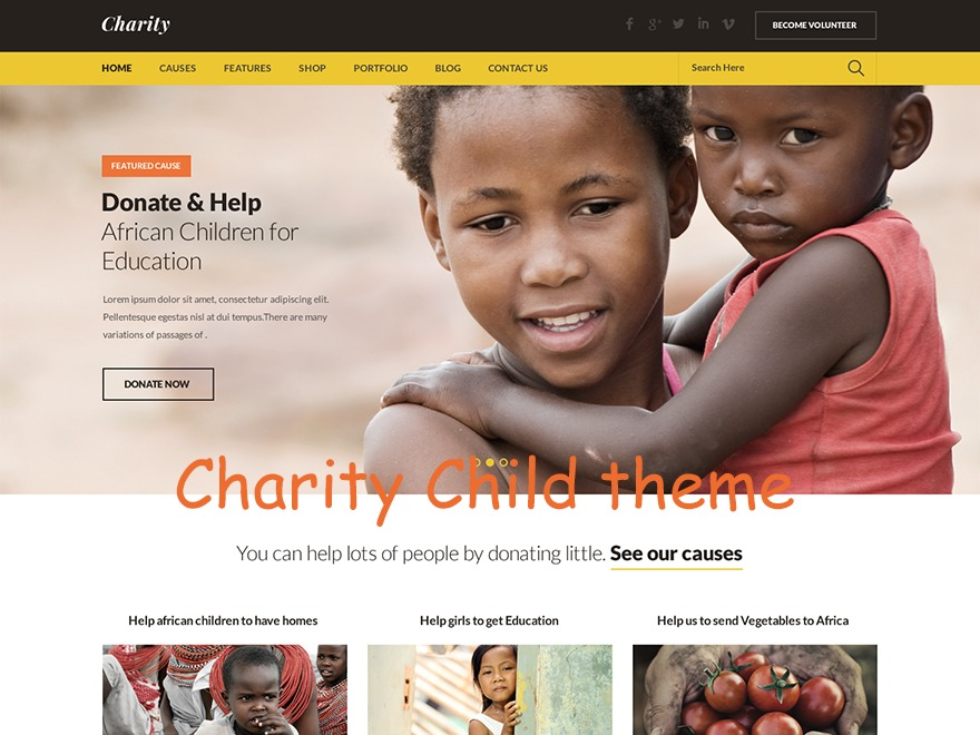 WordPress theme Charity Child
