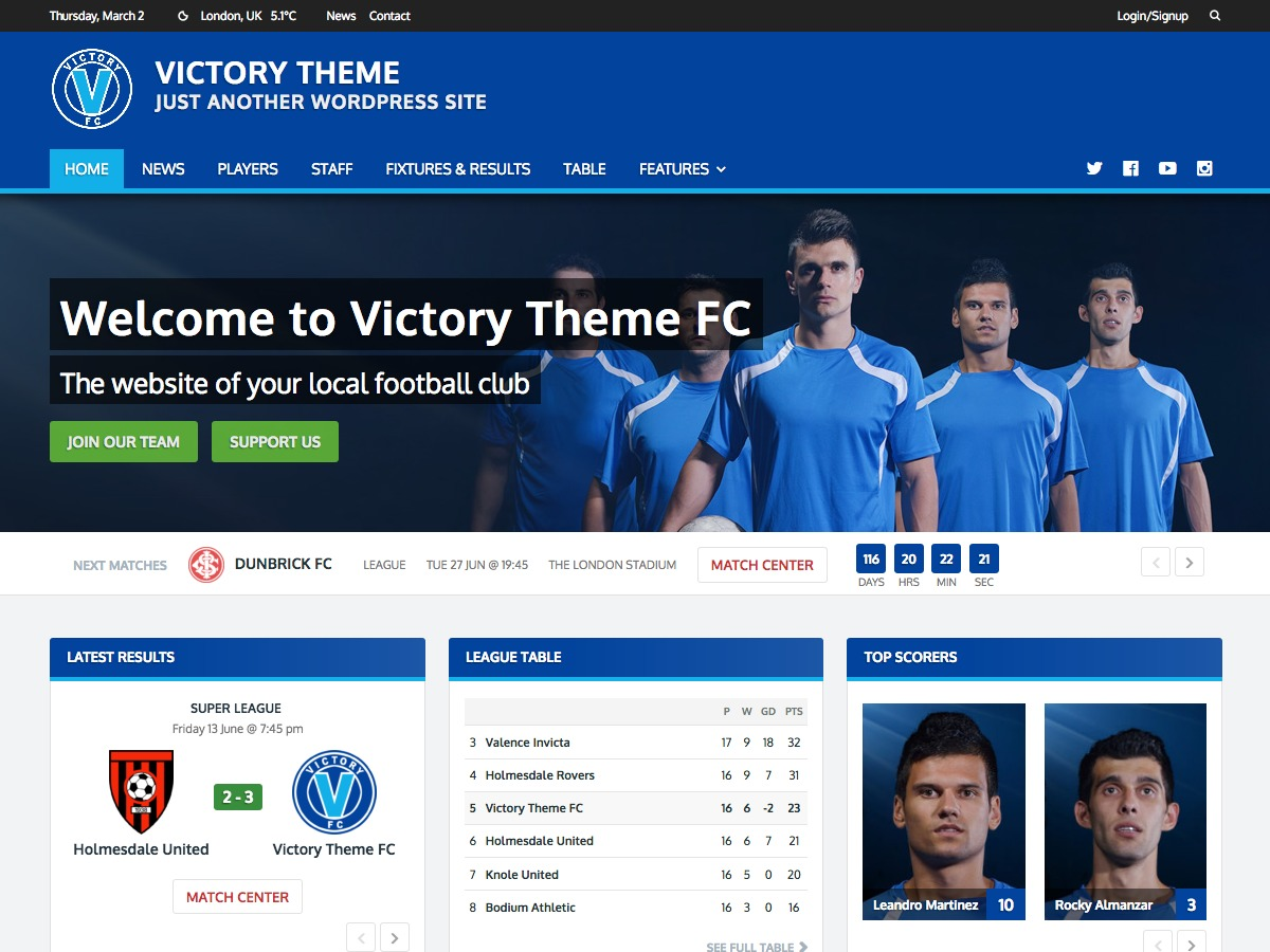 WordPress theme Victory