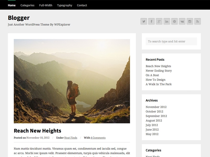 WPEX Blogger WordPress blog template