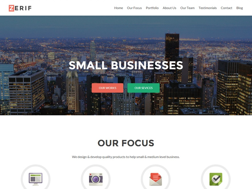 Zerif PRO personal blog WordPress theme