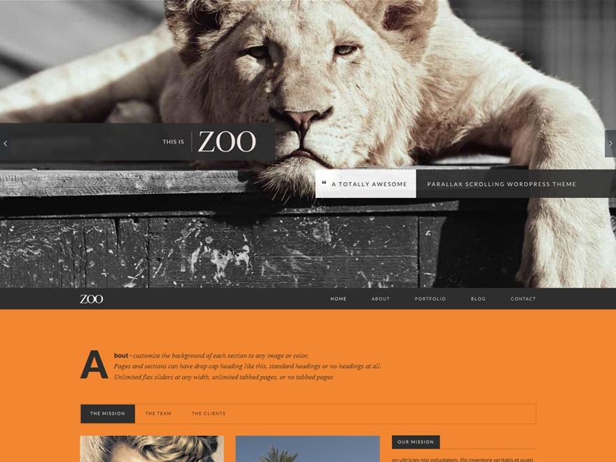 Zoo (shared on wplocker.com) WordPress website template
