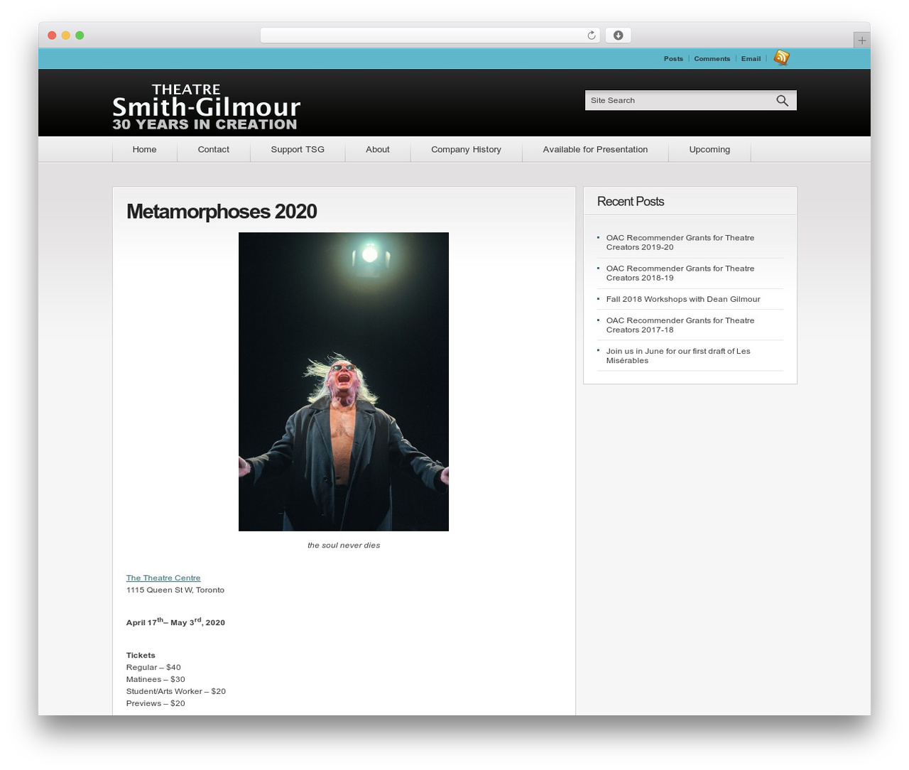 Convergence theme WordPress - theatresmithgilmour.com