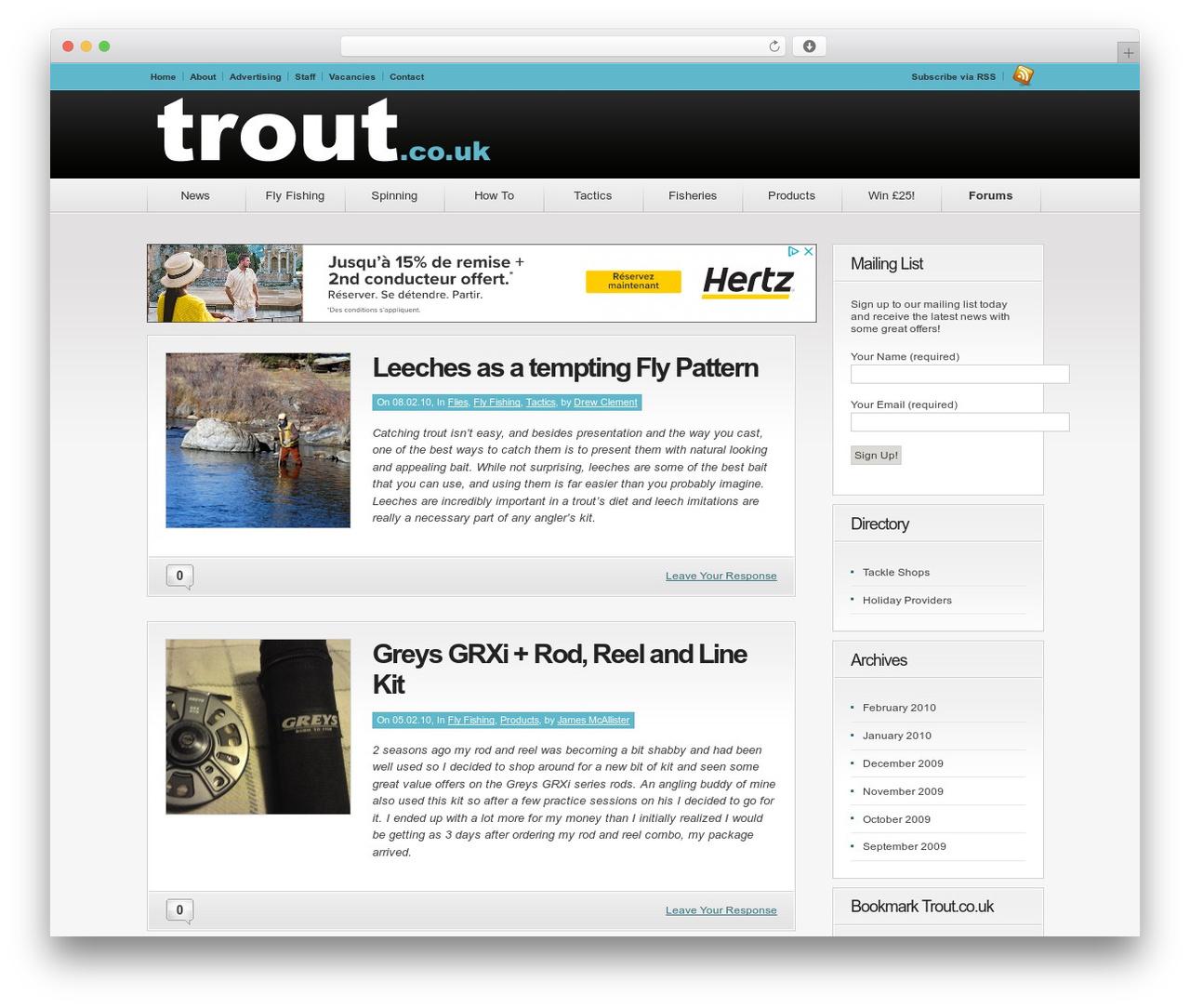 Convergence theme WordPress - trout.co.uk
