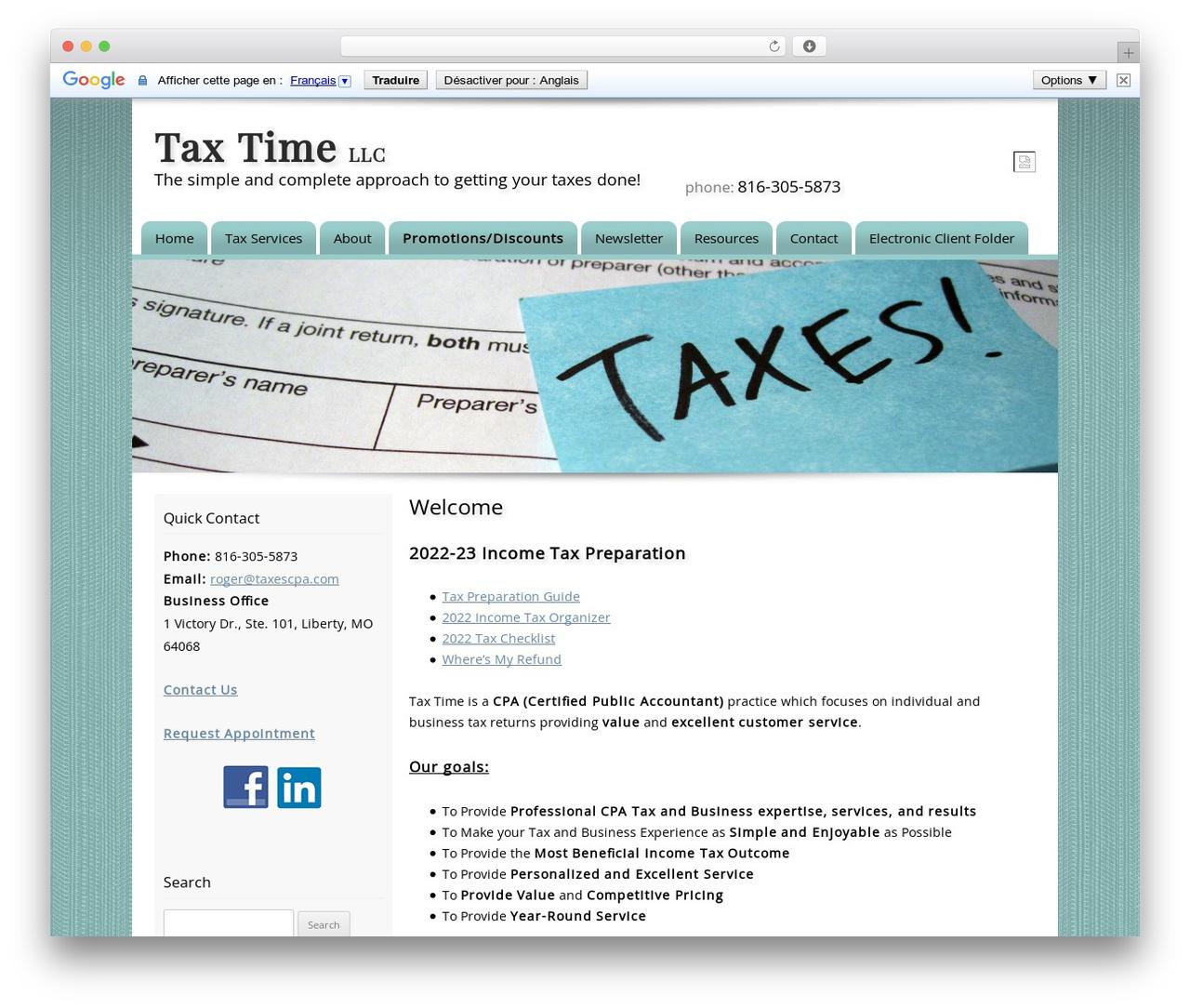 Customized company WordPress theme - taxescpa.com