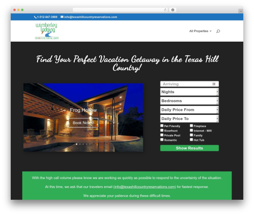 Divi WordPress template - texashillcountryreservations.com