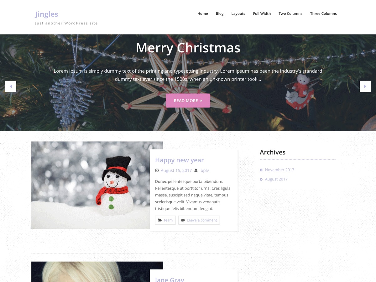 Jingle free website theme