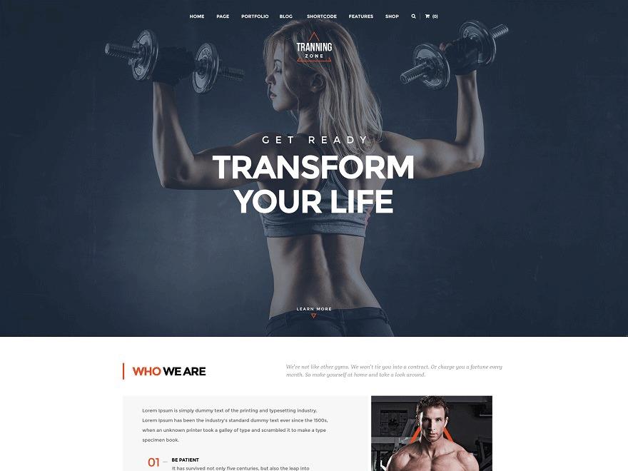 training Zone WordPress shop theme